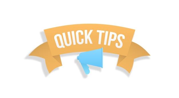 Sprechblase mit lokalisiertem text auf weißem hintergrund. schnelle tipps buntes banner mit nützlichen informationen. beratung und nachricht