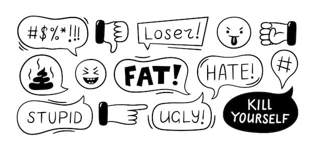 Sprechblase mit schimpfwörtern. cyber-mobbing, trolling, konflikt- und gewaltsituation. schlechte bewertungen, kommentare, abneigungen. vektorillustration lokalisiert im doodle-stil auf weißem hintergrund