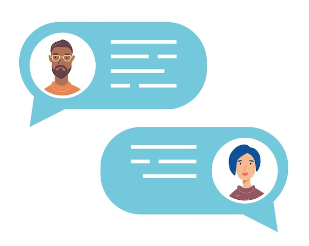 Sprechblase mit sprechenden menschen avataren. konzept von chat, nachricht, webkommunikation, messenger.