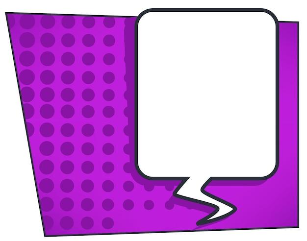 Sprechblase oder dialog-chat-box, comic-buch-stil. kommunikation und unterhaltung, leeres banner mit kopienraum für text. denken und sprechen, nachrichtenballon oder wolke auf lila. vektor in flach