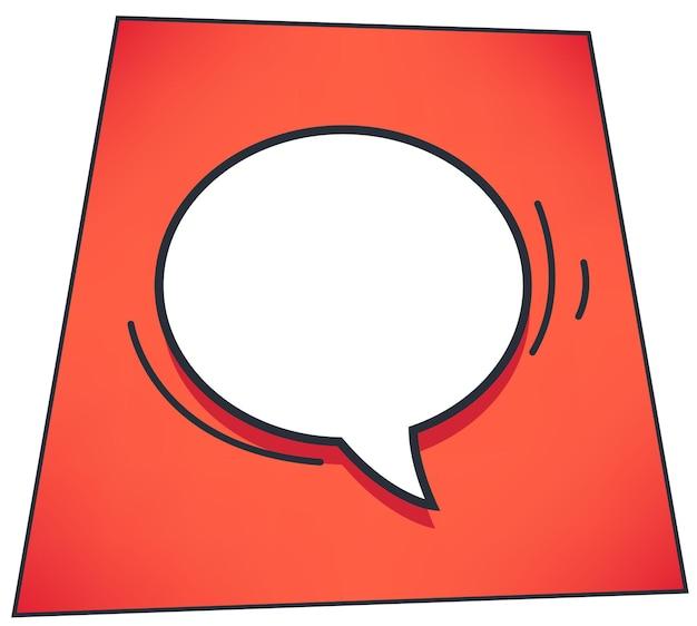 Sprechblase oder gedankenwolke zum ausdrücken von ideen. leeres banner mit kopienraum für text. comic-buch-stil der nachrichtenwolke oder dialog-chat-box. kommunikation und sprechender vektor in der wohnung