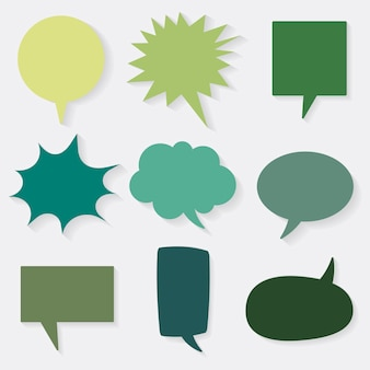 Sprechblase vektor icon set, grünes flaches design