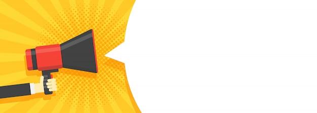 Sprechblasen durch megaphon-banner angekündigt