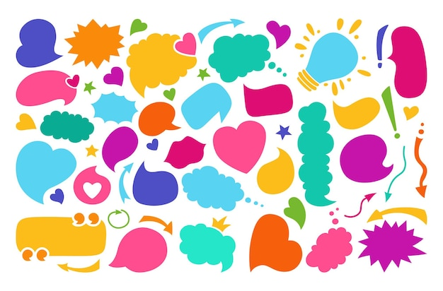Sprechblasen färben leeres flaches karikaturenset.