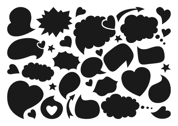 Sprechblasen leer leere flache karikatur gesetzt schwarze silhouette.