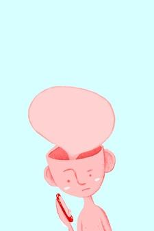 Sprechblasen-mann-hintergrund in blauer sms-illustration
