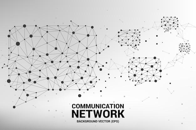 Sprechblasen-symbol mit punkt- und linienverbindungen. konzept des kommunikationsnetzes.