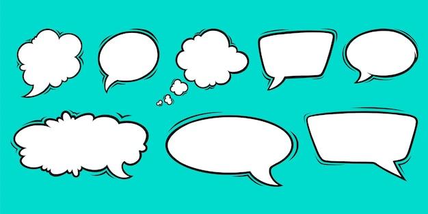 Sprechblasenvorlagen für diskussionen und chats satz von sprechboxen einzeln auf grünem hintergrund