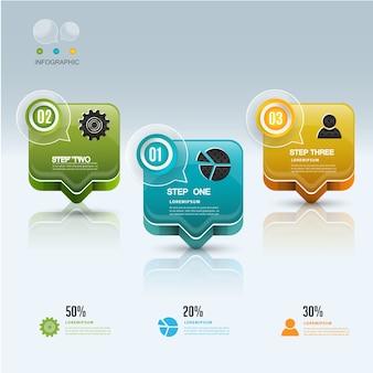 Sprechen Sie buble moderne Infographic-Gestaltungselementfahne.