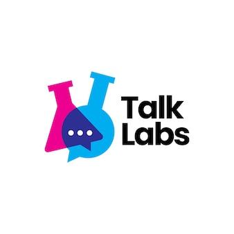 Sprechen sie chat-labor-laborglas-becher-logo-vektor-symbol-illustration