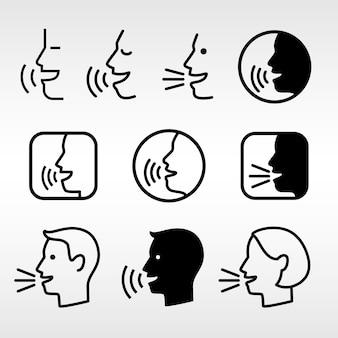 Sprechen sie die zeichen der kopftechnologie. gesprächssymbole, sprechende oder sprechende manngesichter, vektorsprachinformationssymbole, sprachdiktator-piktogramme, lautsprecher laute steuertasten