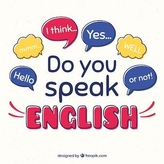 Sprechen sie englisch schriftzug hintergrund