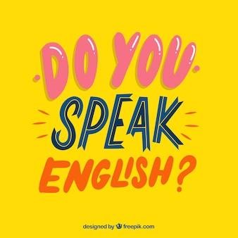 Sprechen sie englische frage mit flachem design