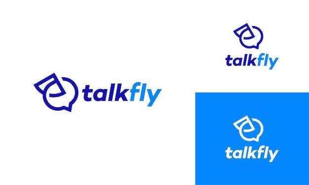 Sprechen sie fly-logo-designs-symbol, fast consult logo-vorlage entwirft konzeptvektor