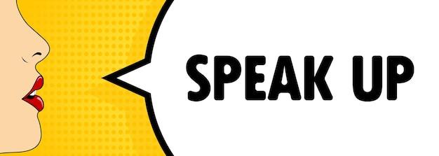 Sprechen sie. weiblicher mund mit rotem lippenstift schreien. sprechblase mit text sprechen sie. retro-comic-stil. kann für geschäft, marketing und werbung verwendet werden. vektor-eps 10.