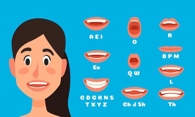 Sprechende frau mund animation, weibliche charakter sprechen, sprechen mund ausdrücke und lippensynchronisation sprechen animationen