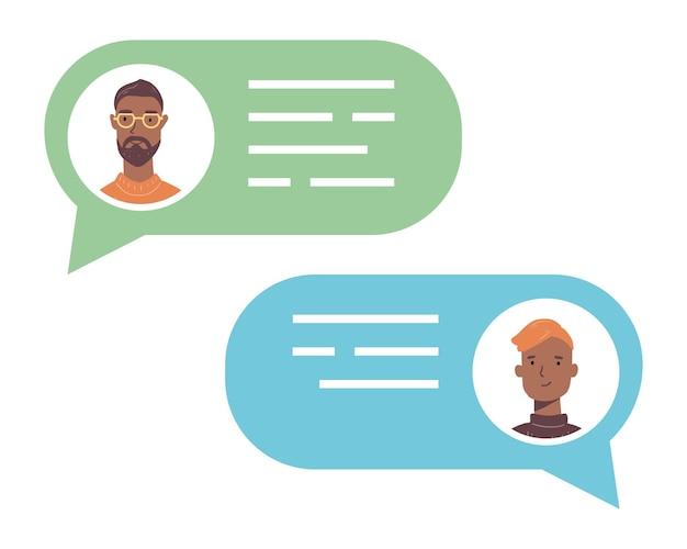 Sprechende menschen unterhalten sich mit avataren über blasen