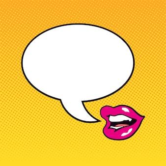 Sprechende weibliche lippen mit einer dialogwolke im pop-art-stil. vektor-illustration.