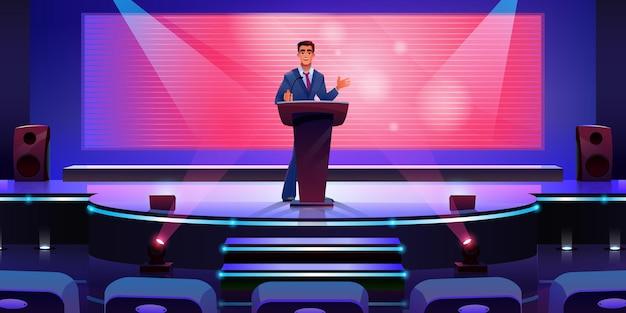 Sprecher auf moderner bühne im konferenzsaal-bildschirm