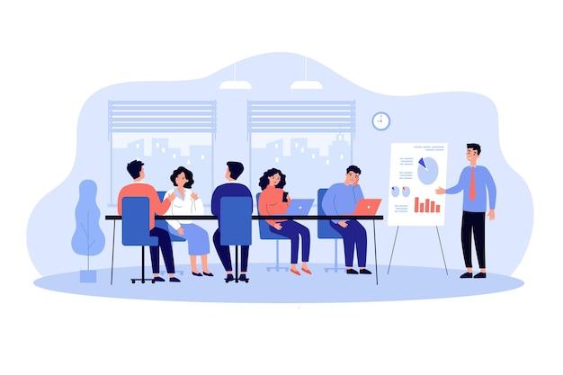 Sprecher macht langweilige präsentation im büro. männlicher managercharakter, der einem ermüdenden publikum einen vortrag mit whiteboard hält