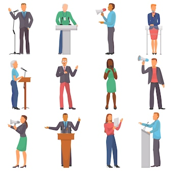 Sprechervektor-personenzeichen, die bei geschäftsereignis oder auf konferenzpräsentationsillustrationssatz von mann oder frau sprechen, haben eine rede auf seminar isoliert auf weiß