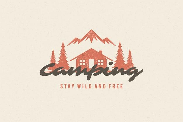 Sprichwort-typografie mit handgezeichnetem campingkabinen-symbol und bergen