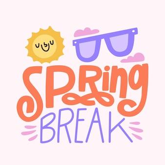Spring break schriftzug konzept