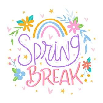 Spring break schriftzug mit regenbogen
