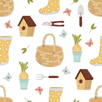 Spring craft garden seamless pattern