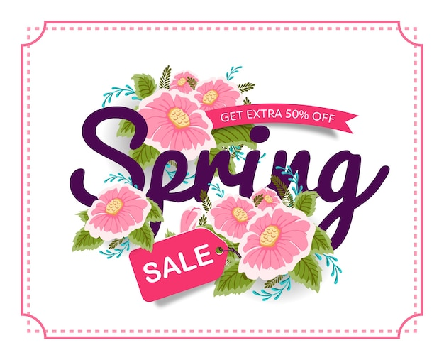 Spring sale banner poster tag mit bunten blumen.