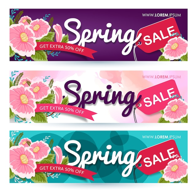 Spring sale banner poster tag.