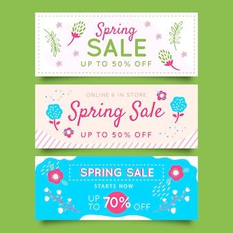 Spring sale banner sammlung konzept