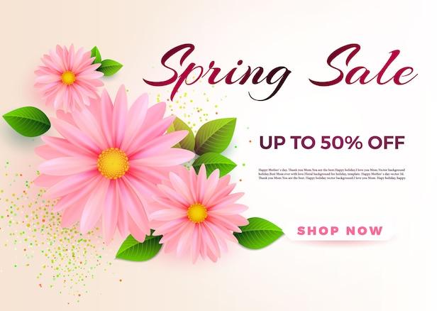 Spring sale banner vorlage mit papier frühlingsblumen für online-shopping.
