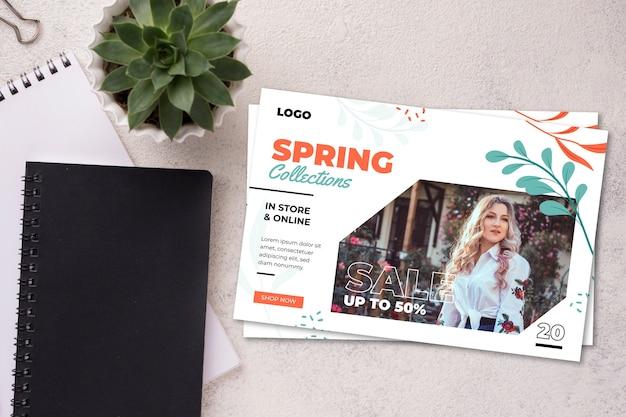Spring sale flyer mock-up