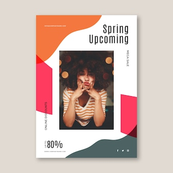 Spring sale flyer vorlage mit prozentsatz aus