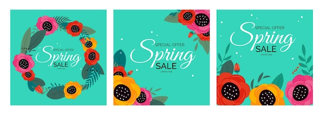 Spring sale natural flower collection set hintergrund.