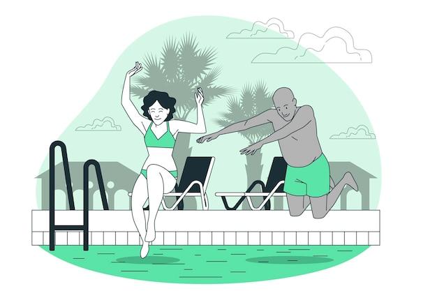 Springen in die poolkonzeptillustration