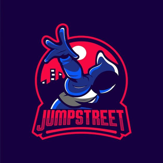 Springen sie street-maskottchen-logo