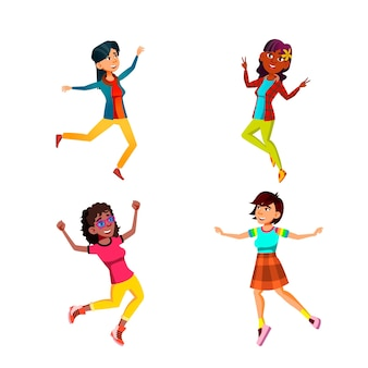 Springen teen girls feiern erfolg set vector. springende teen girls feiern erfolgreiche erfolge oder genießen auf der festivalparty. charaktere gute laune flache cartoon illustrationen