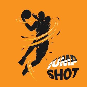 Springen und basketball-spieler silhouette erschossen