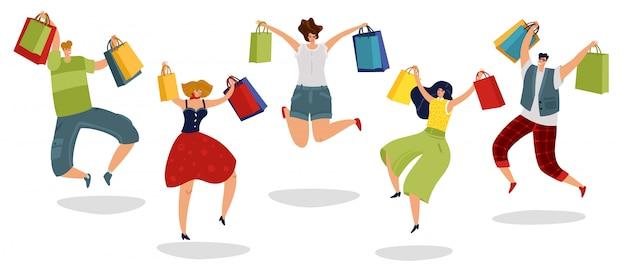 Springende einkaufsleute. zufriedene kunden mit geschenktüten supermarkt männer frauen käufer im sprung isoliert konzept
