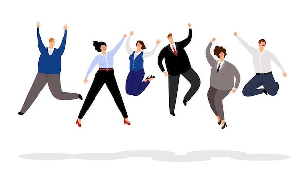 Springende geschäftsleute. gewinnende, frohe und lächelnde karikaturgeschäftsmänner und -geschäftsfrauen der glücklichen büroleute team