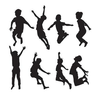Springende jungen-silhouetten in verschiedenen posen setzen formen