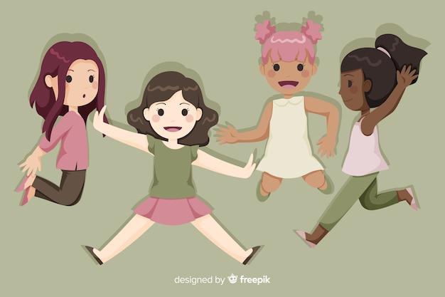Springende karikatur der glücklichen gruppe der jungen mädchen