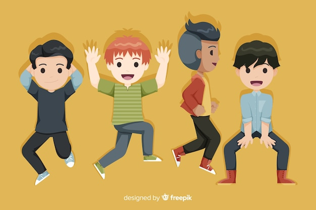 Springende karikatur der glücklichen jungengruppe