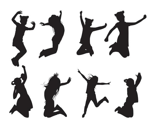 Springende mädchen-silhouetten in verschiedenen posen setzen formen