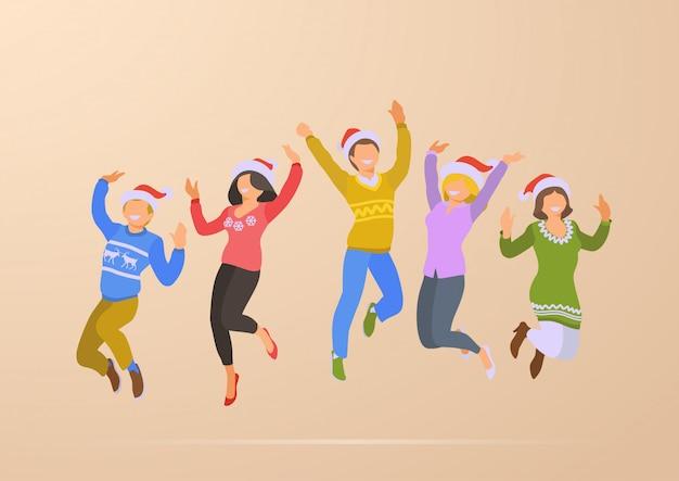 Springende tanzende flache vektorillustration der glücklichen menschen weihnachtsfest-feiertage.