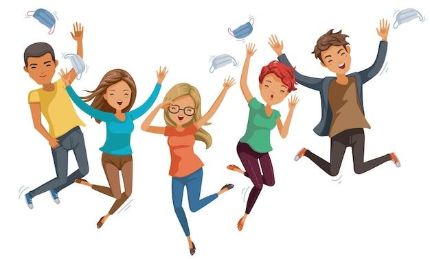 Springende teenager entfernen die medizinische maske