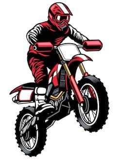 Springender fahrer beim motocross