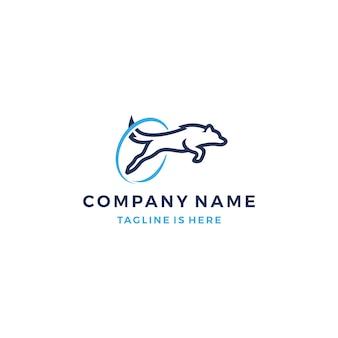 Springender hund mit einem runden hindernis-vektor-logo-vorlage-abbildung